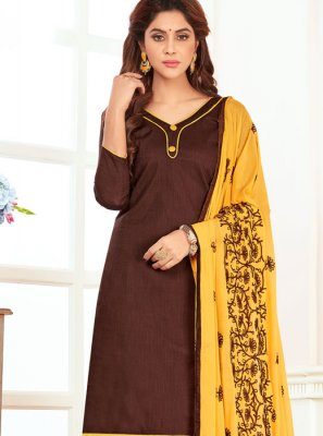 Embroidered Work Cotton   Churidar Suit