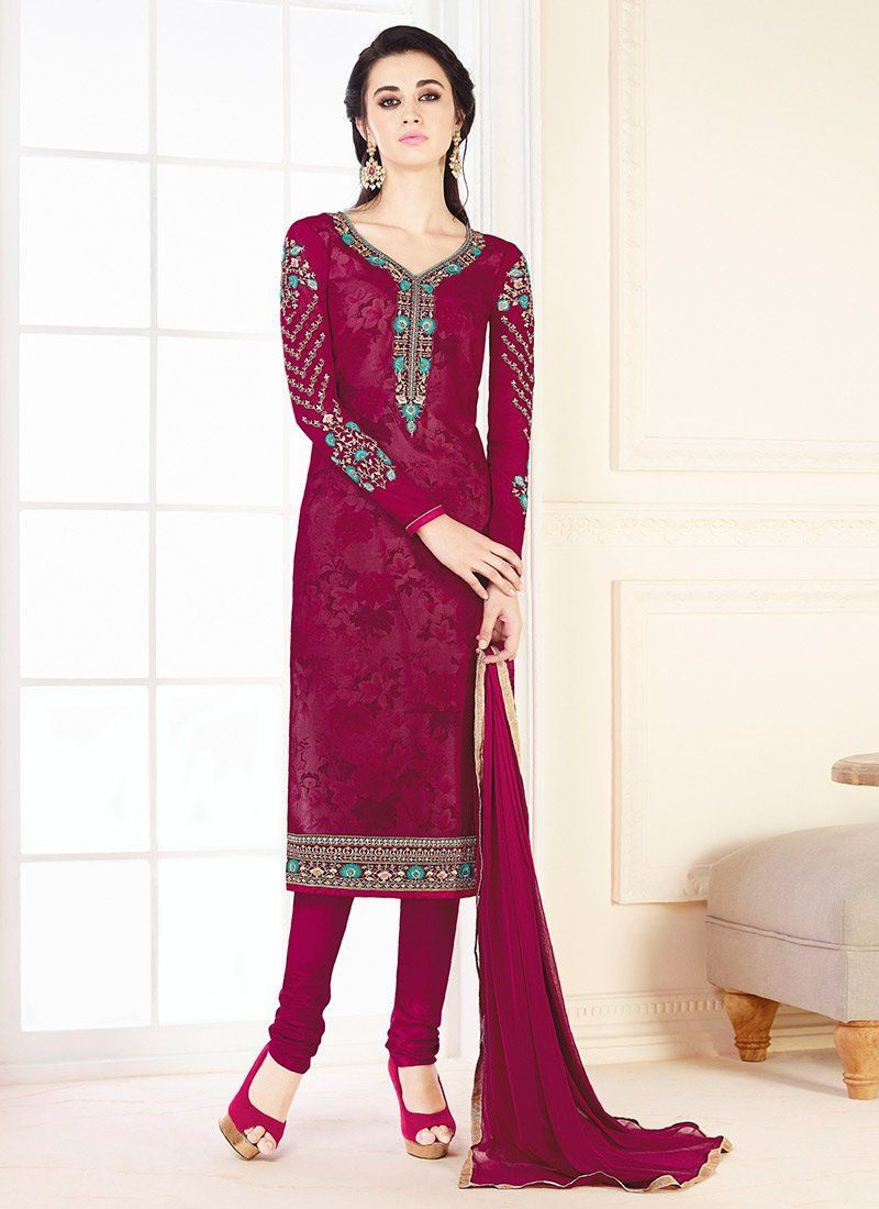 Embroidered Work Faux Georgette Churidar Designer Suit