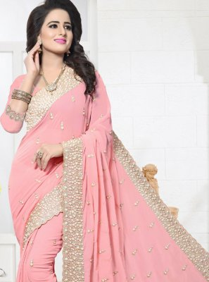 Embroidered Work Faux Georgette Designer Saree