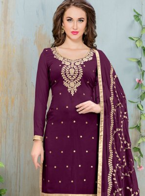 Embroidered Work Faux Georgette Purple Churidar Suit