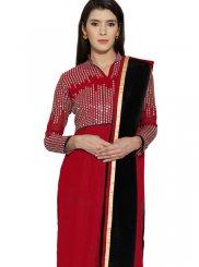 Embroidered Work Faux Georgette Red Churidar Designer Suit