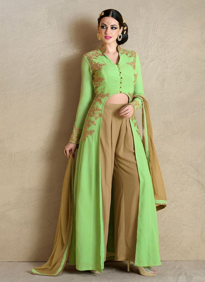 Embroidered Work Georgette Green Designer Palazzo Salwar Suit