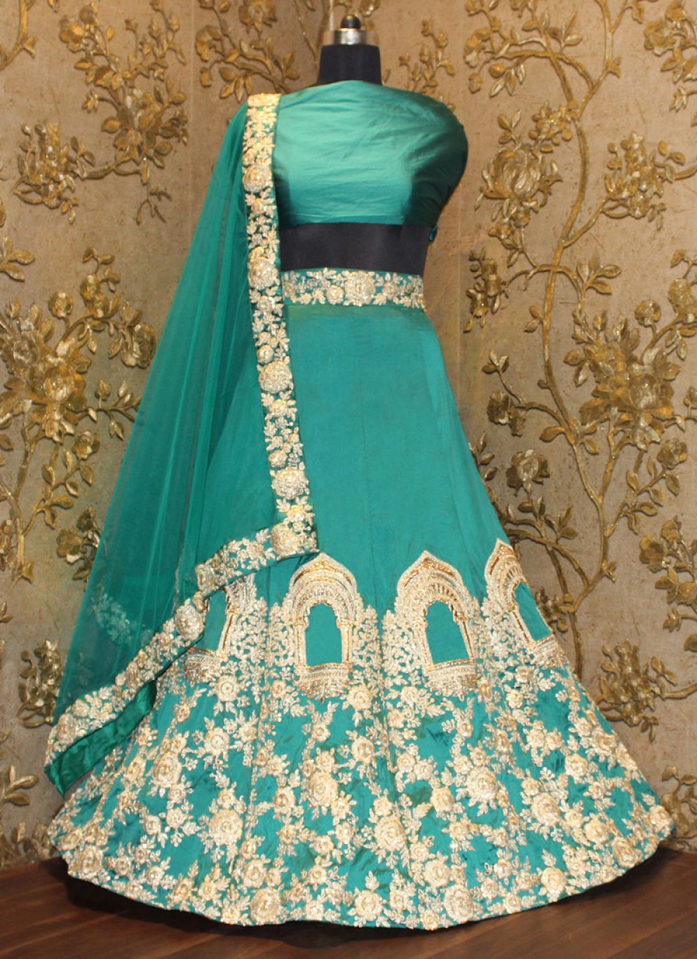 Embroidered Work Green A Line Replica Lehenga Choli