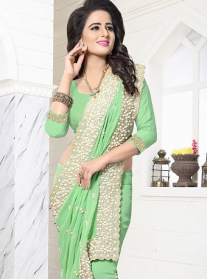 Embroidered Work Green Designer Saree