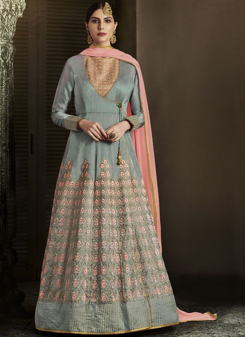 Embroidered Work Grey Art Silk Floor Length Designer Salwar Suit