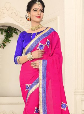 Embroidered Work Hot Pink Classic Saree