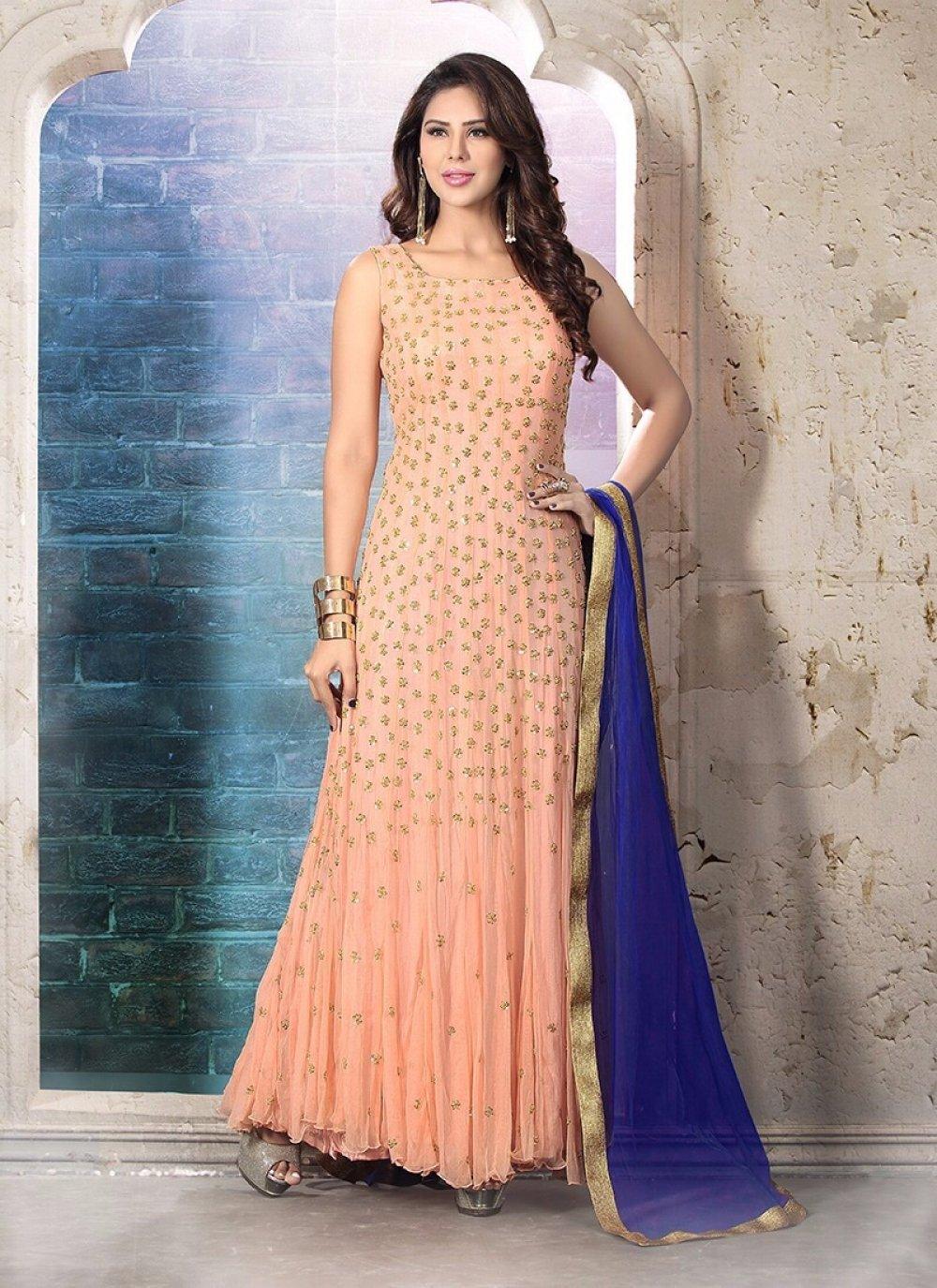 Embroidered Work Net Anarkali Suit