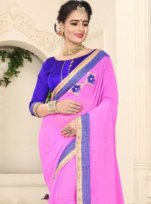 Embroidered Work Pink Faux Georgette Classic Designer Saree