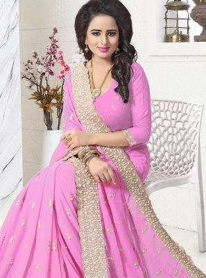 Embroidered Work Pink Faux Georgette Saree