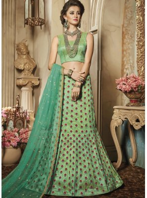 Embroidered Work Sea Green Art Silk Lehenga Choli