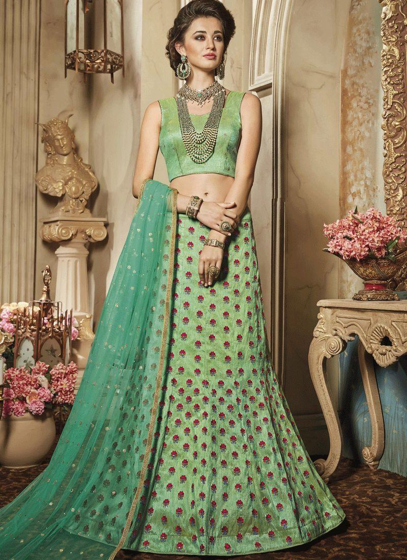 Embroidered Work Sea Green Art Silk Lehenga Choli