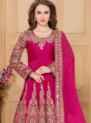 Embroidered Work Tafeta silk Hot Pink Designer Floor Length Suit