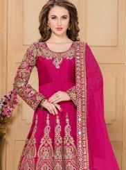 Embroidered Work Tafeta silk Hot Pink Designer Floor Length Suit