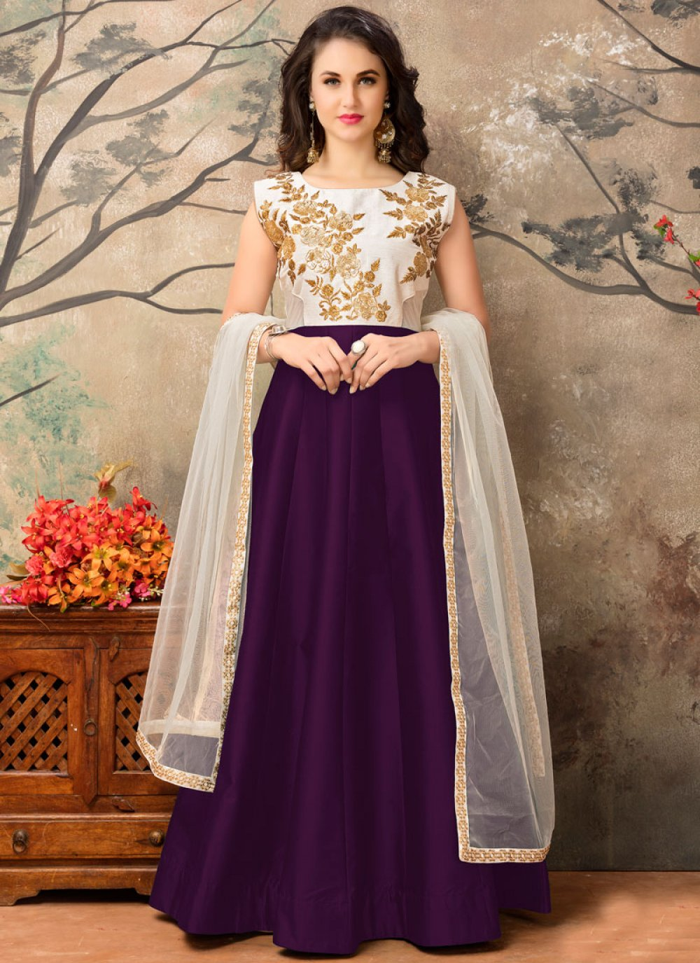 Embroidered Work Tafeta silk Purple Floor Length Anarkali Suit