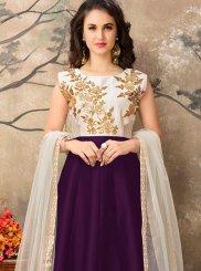 Embroidered Work Tafeta silk Purple Floor Length Anarkali Suit
