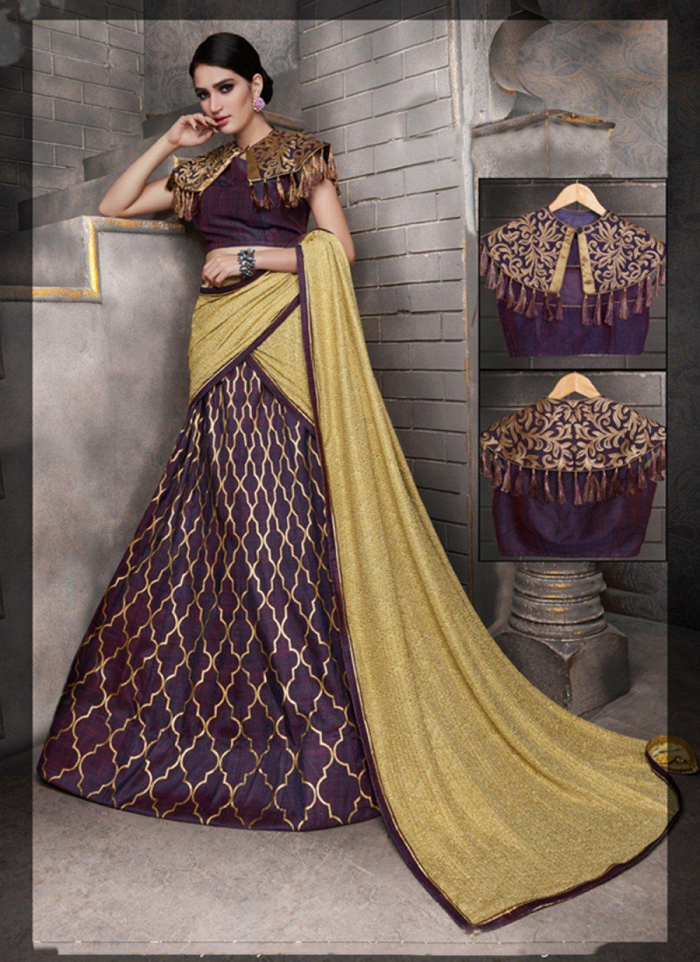 Embroidered Work Tussar Silk A Line Lehenga Choli