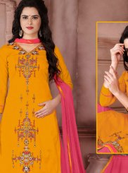 Embroidered Work Yellow Designer Palazzo Suit