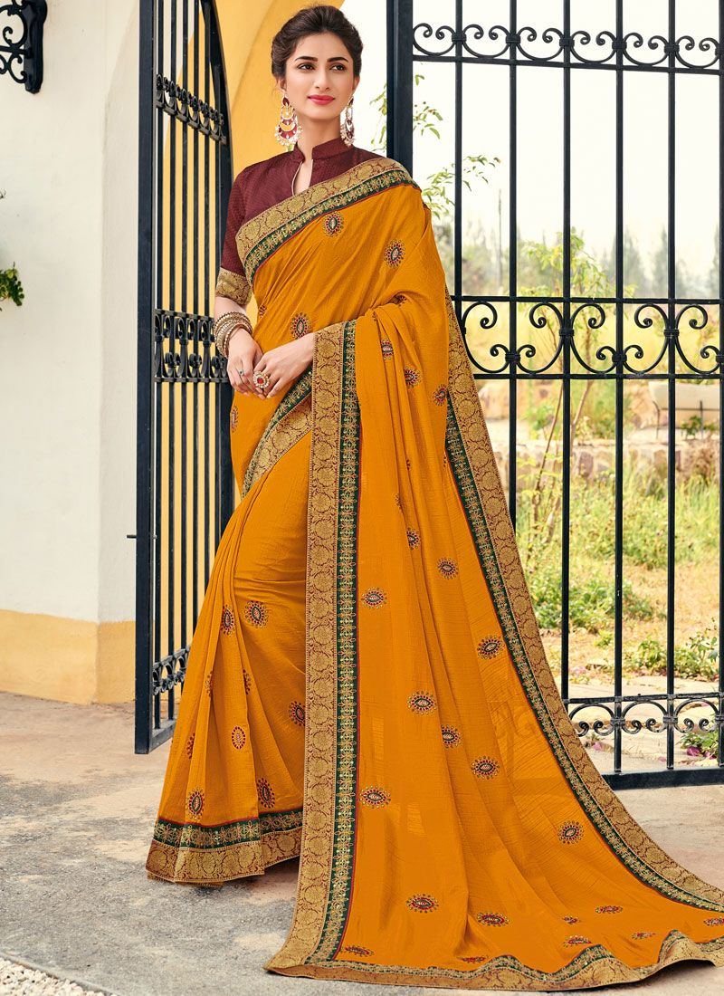 Embroidered Yellow Art Silk Designer Traditional Saree