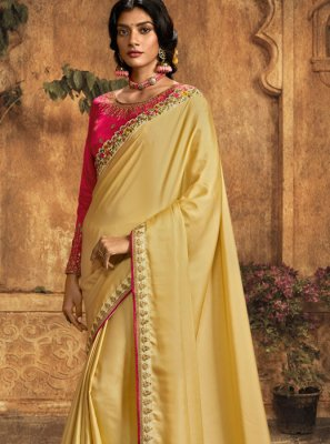 Embroidered Yellow Art Silk Saree