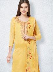 Embroidered Yellow Churidar Salwar Suit