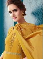 Embroidered Yellow Designer Palazzo Suit