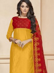 Embroidered Yellow Fancy Fabric Churidar Suit