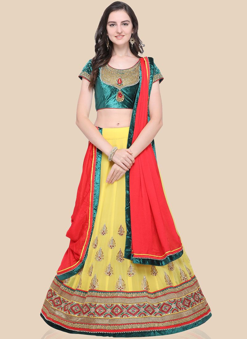 Embroidered Yellow Faux Georgette Lehenga Choli