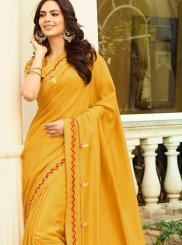 Embroidered Yellow Trendy Saree
