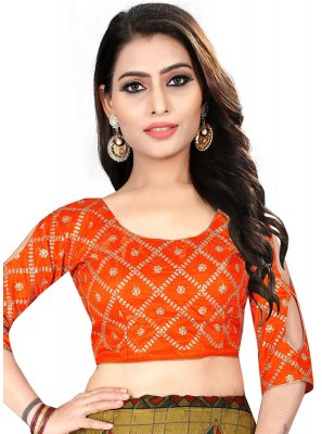 Engaging Orange Color Designer Blouse