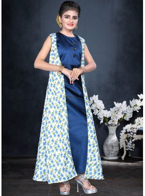 Eye-Catchy Blue Color Designer Readymade Gown