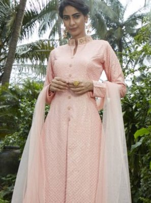 Fancy Art Silk Readymade Suit in Peach