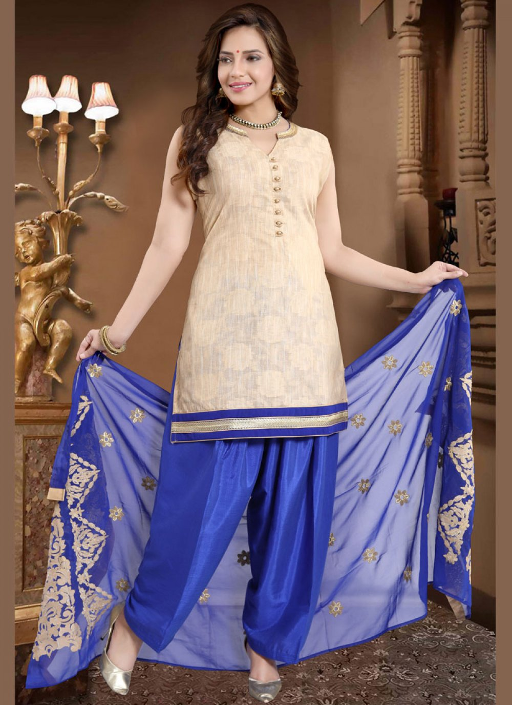 Fancy Banglori Silk Readymade Suit in Cream