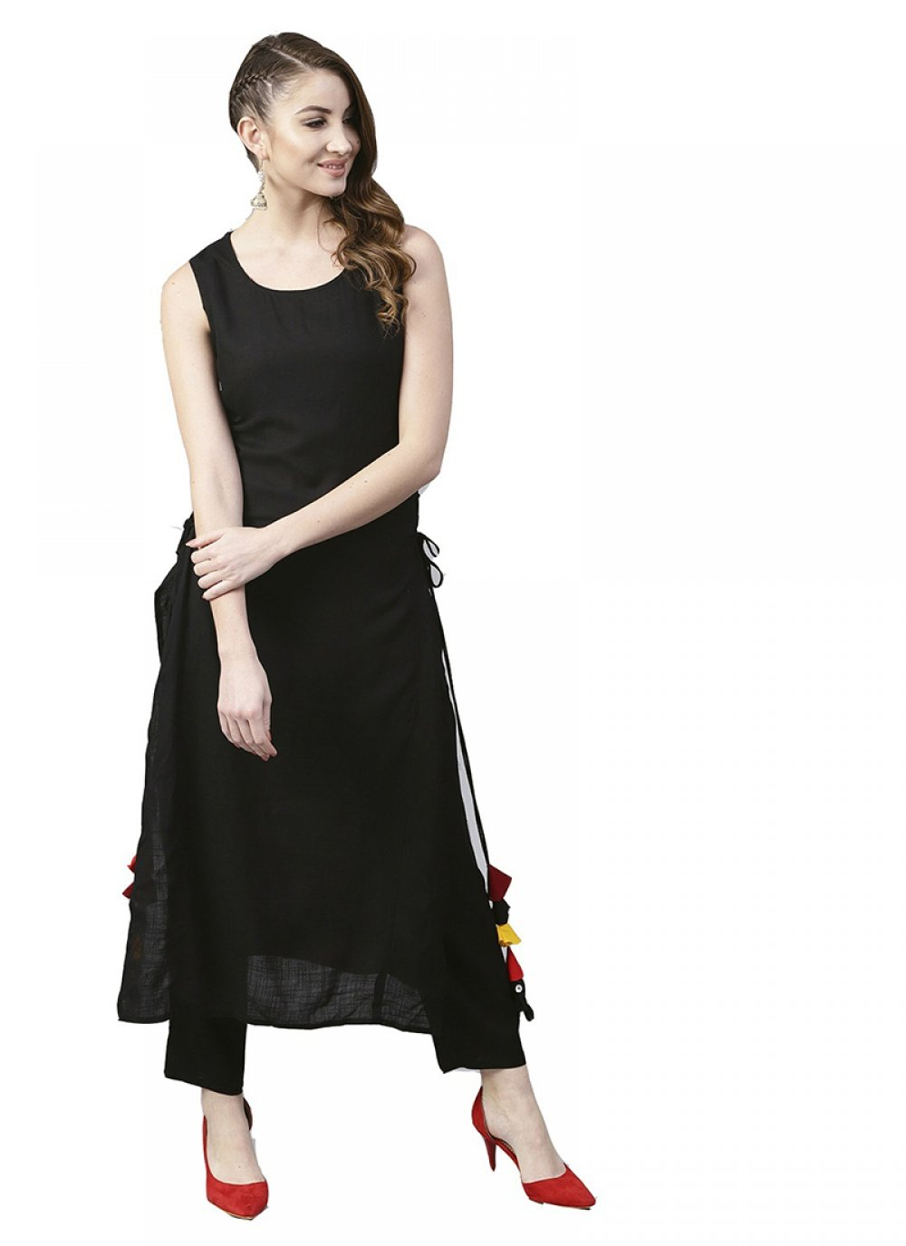 Fancy Black Rayon Party Wear Kurti