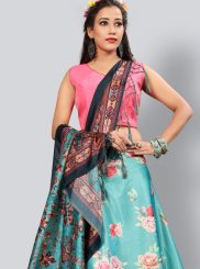 Fancy Blue and Pink Art Silk Lehenga Choli