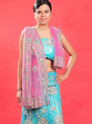 Fancy Blue Net Lehenga Choli