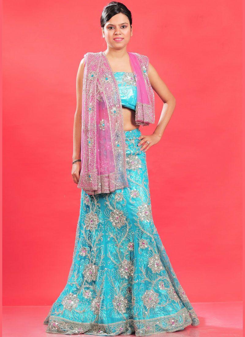 Fancy Blue Net Lehenga Choli