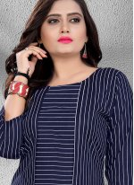 Fancy Blue Rayon Casual Kurti