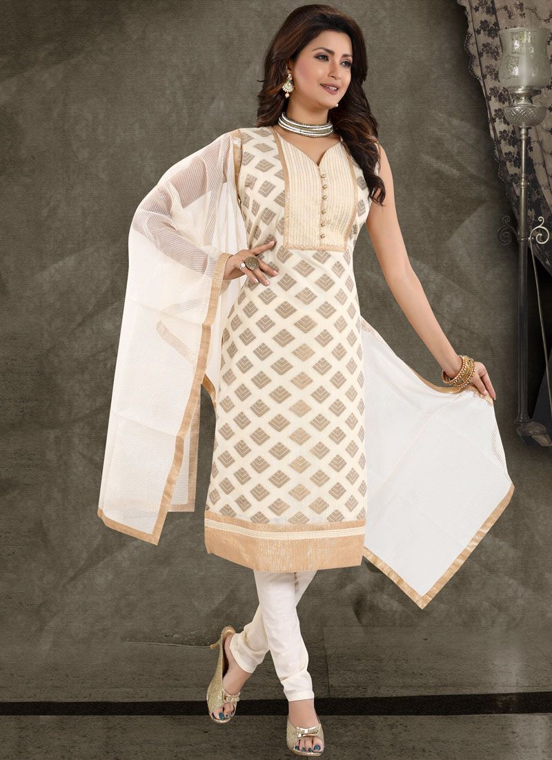 Fancy Chanderi Churidar Designer Suit