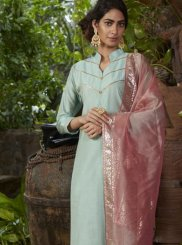 Fancy Chanderi Readymade Suit in Blue