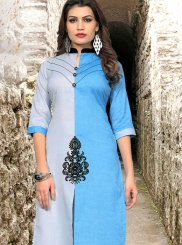 Fancy Cotton Blue Casual Kurti