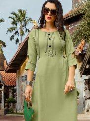 Fancy Cotton Green Party Wear Kurti