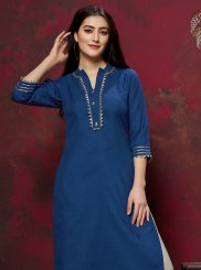 Fancy Cotton Party Wear Kurti in Blue
