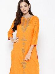 Fancy Cotton Party Wear Kurti in Orange