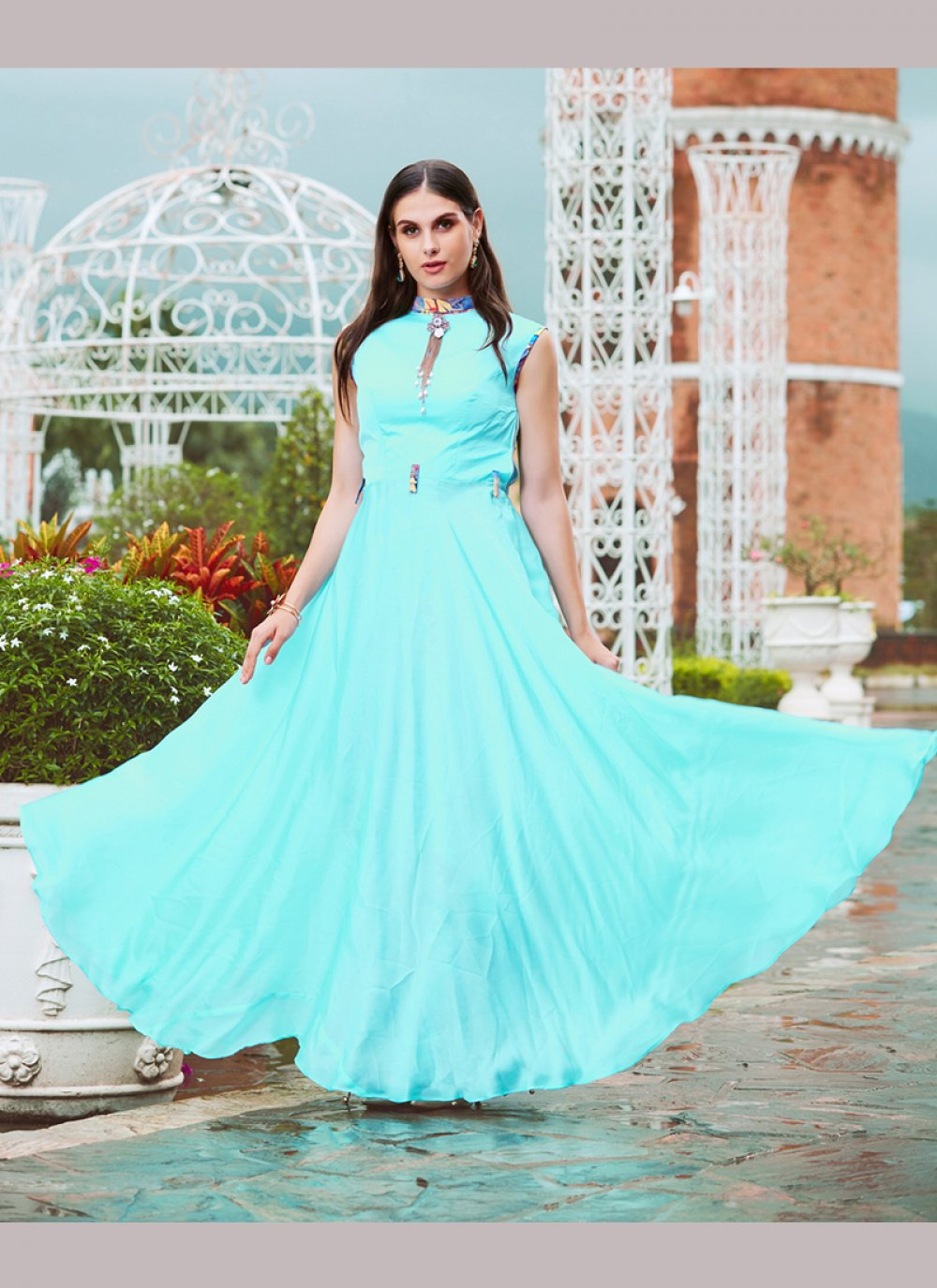 Fancy Crepe Silk Readymade Gown
