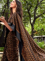 Fancy Fabric Abstract Print Black Printed Saree