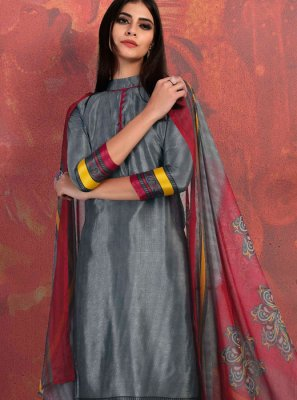 Fancy Fabric Abstract Print Churidar Suit