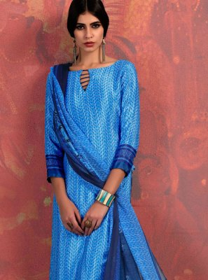 Fancy Fabric Abstract Print Churidar Suit in Blue