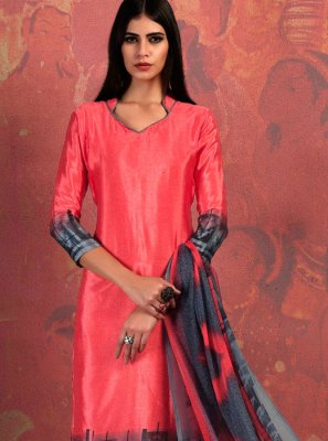 Fancy Fabric Abstract Print Churidar Suit in Rose Pink