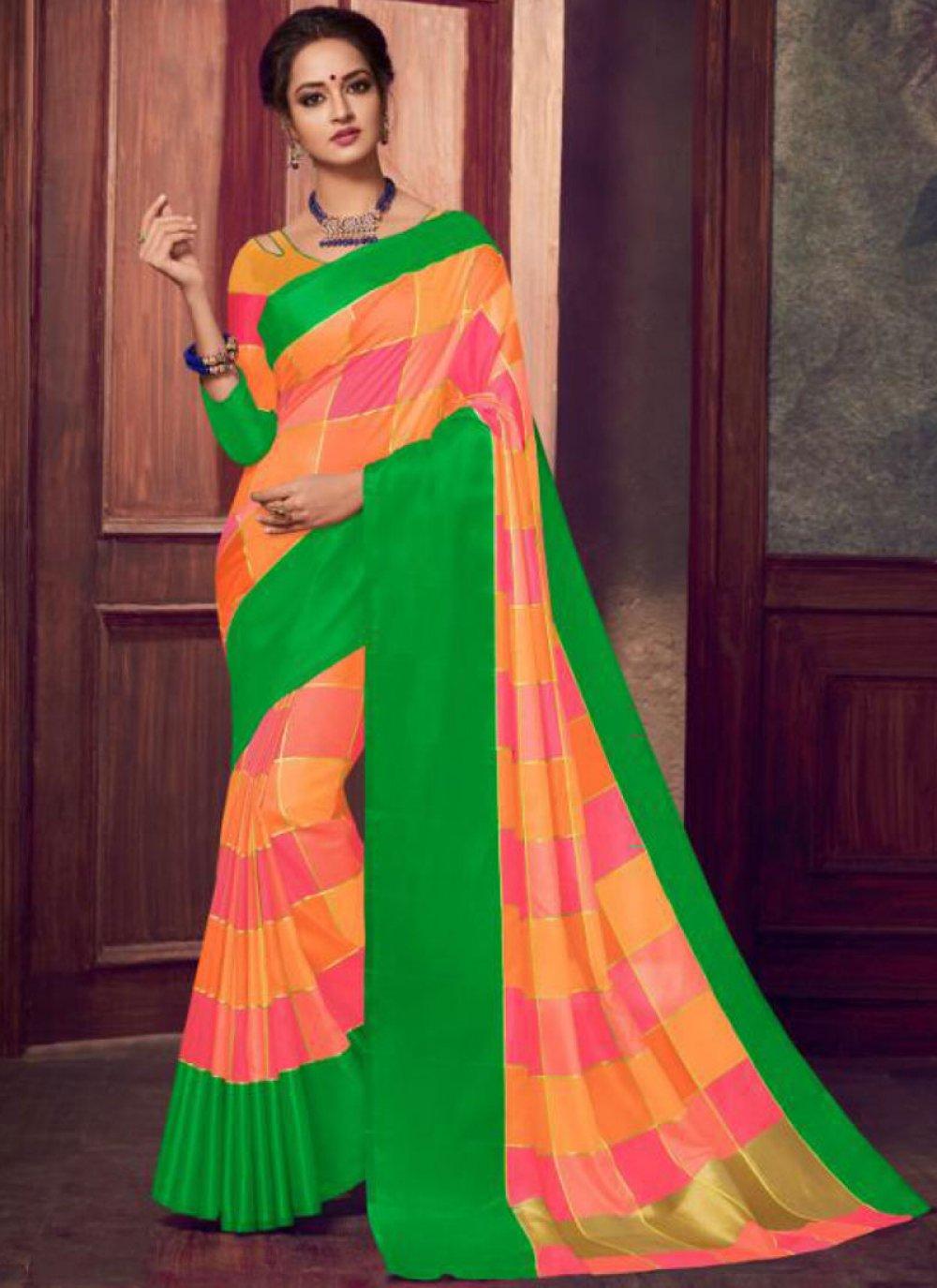 Fancy Fabric Abstract Print Orange Classic Designer Saree