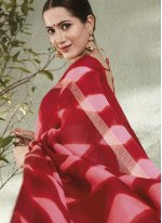 Fancy Fabric Abstract Print Red Printed Saree